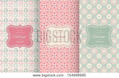 Cute floral seamless pattern background. Vector illustration for elegant design. Abstract geometric frame. Stylish decorative label set. Pink and blue shabby color. Flower wave motif background.