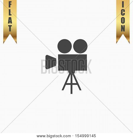 Video film camera. Flat Icon. Vector illustration grey symbol on white background with gold ribbon