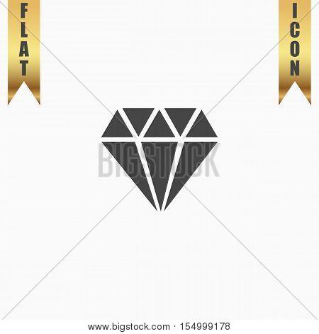 Diamond. Flat Icon. Vector illustration grey symbol on white background with gold ribbon