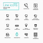 Dental Care - single line pictograms set. Examination, tomography, caries, pulpitis, restoration, implant surgery, bite correction, teeth whitening extraction prosthetic dentistry periodontics poster