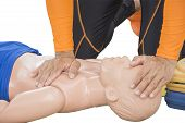 cpr and aed training victim child drowning isolated poster