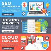 SEO optimization, hosting service, cloud services, internet technology flat illustration concept set. Flat design graphic for web banner, web site, printed materials, infographics. Vector illustration poster