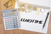 LUNCH TIME time for lunch words BUSINESSMAN WORKING AND LUNCH TIME poster