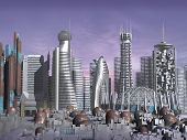 3d Model of Sci-fi city with futuristic skyscrapers and rusty domes poster