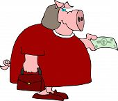 This illustration depicts a female pig holding out paper currency. poster