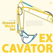Outlined typography set of ground works machines vehicles, excavator. Construction equipment for building. Construction machinery. Truck, digger, crane, forklift, master vector illustration. poster