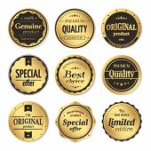 Vector set of classic gold badges and labels. Vintage elements with title Genuine product, Premium quality, Best choice, Limited edition, Special offer, Original product. Isolated from a background. poster