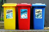 Recycle, reuse, reduce.  Colourful recycle bins.  Mother nature. poster