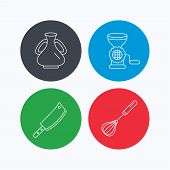 Meat grinder, butcher knife and whisk icons. Vase linear sign. Linear icons on colored buttons. Flat web symbols. Vector poster