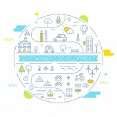 Sustainable Development and Sustainable Living Implementation Concept Line Art Vector Flat Illustration poster