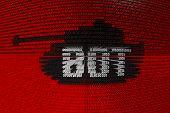 BOT red tank binary code 3D illustration poster