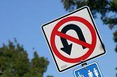 no u turn sign, street, signage, warning, blue sky poster