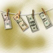 Dollars hanging from a rope on the abstract background. Conceptual image. poster