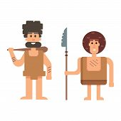 Caveman primitive stone age cartoon neanderthal people. Caveman cartoon action neanderthal evolution vector. Stone age people vector poster