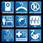 Set of Medical Icons in blue square background - DRESSING ROOM, DRUG PREVENTION, ELECTROTHERAPY, ELECTROENCEPHALOGRAPHY, EKG, EMERGENCY, ENDOSCOPY poster