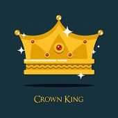 Royal crown for king or princess, queen gold tiara. Monarch imperial crown symbol of majesty and royalty, luxury gold prince crown emblem. May be used for old or vintage crown theme poster