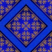 Pattern seamless. Golden crystals weaving arabesques. Gold arabesque oriental style abstract figure tiles mosaics. Sparkling decorative square frame. Dark blue background mural. poster