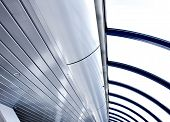 modern futuristic ceiling in airport in blue colors poster