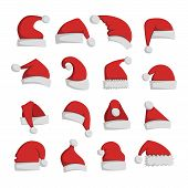 Just red christmas santa hat at white background. Cold x-mas symbol fluffy santa christmas hat. Winter white fluffy fur holiday santa christmas hat traditional snow fuzzy accessory. poster