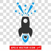 Space Rocket Boom EPS vector icon. Illustration style is flat iconic bicolor blue and gray symbol on white background. poster