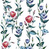 Wildflower Eustoma flower pattern in a watercolor style isolated. Full name of the plant: Eustoma russellianum. Aquarelle wild flower for background, texture, wrapper pattern, frame or border. poster