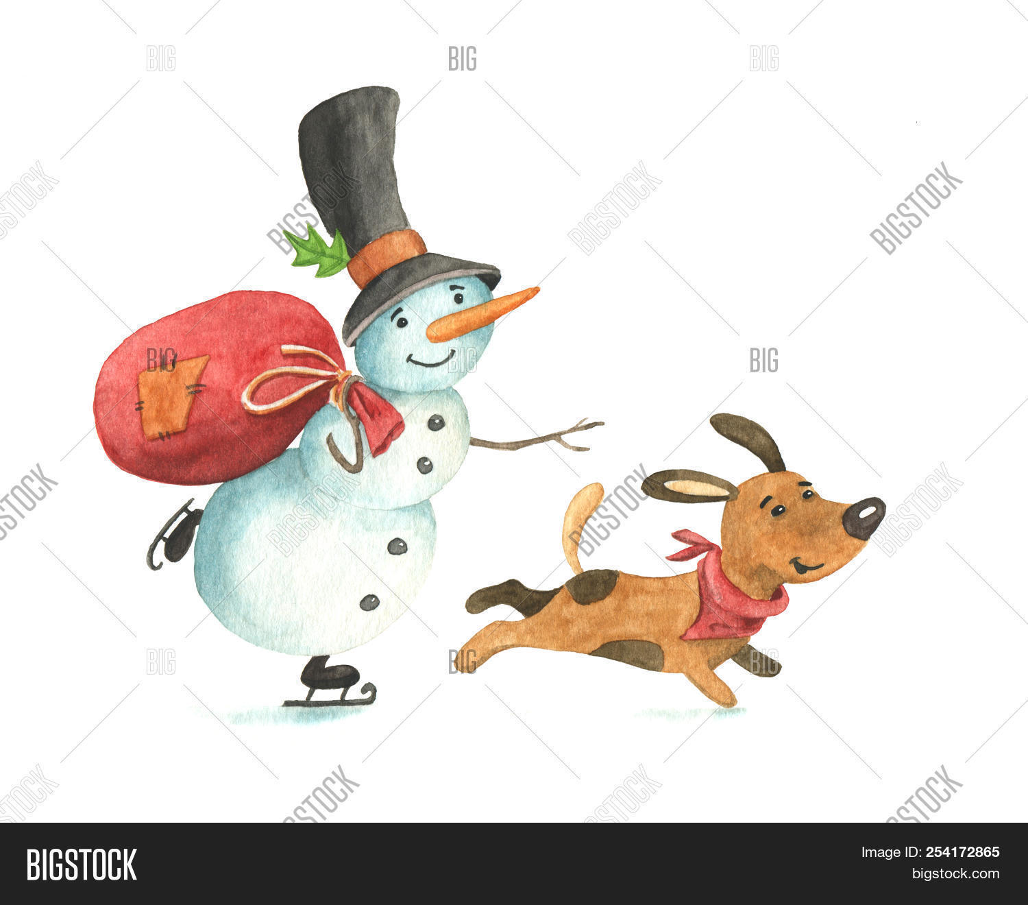 8b93427f0a3b6 Funny Snowman In Top Hat And Ice Skates With Red Bag And Cute Brown Dog  Hurrying