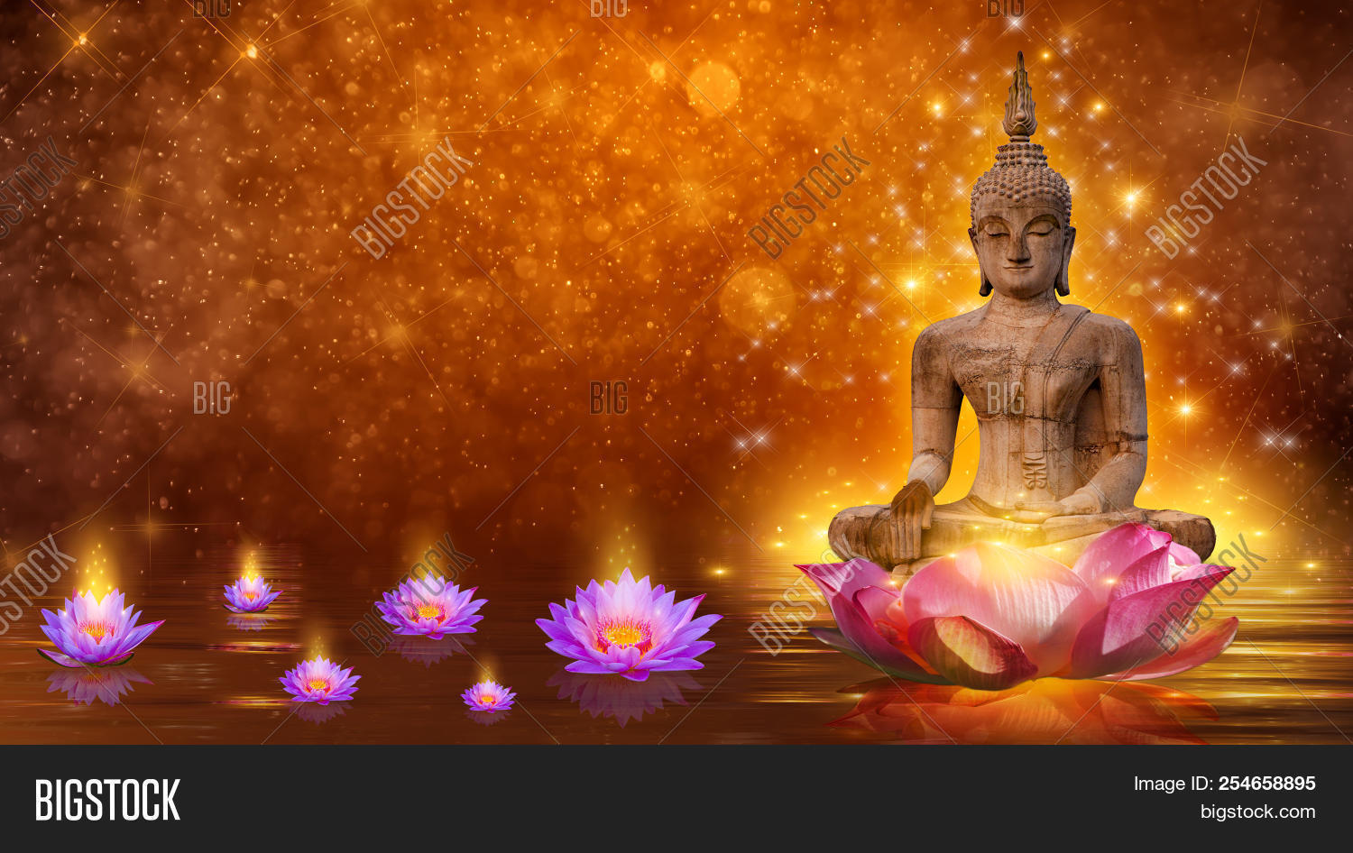 Buddha statue water image photo free trial bigstock buddha statue water lotus buddha standing on lotus flower on orange background izmirmasajfo