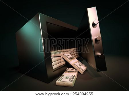 Cash Money Safe Deposit. Small Residential Vault With Pile Of Cash Money. Closeup Photo.cash Money S