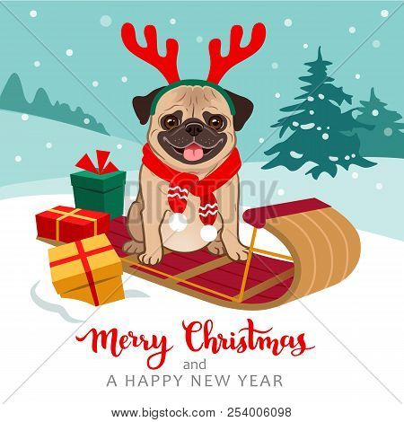 Christmas Pug Dog Cartoon Illustration. Cute Pug Puppy Wearing Red Scarf And Antlers Sitting On Tobo