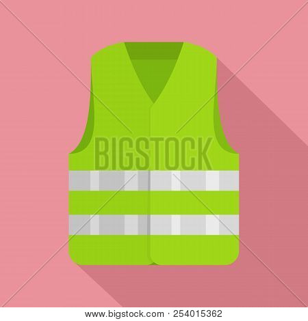 Driver Reflective Vest Icon. Flat Illustration Of Driver Reflective Vest Icon For Web Design