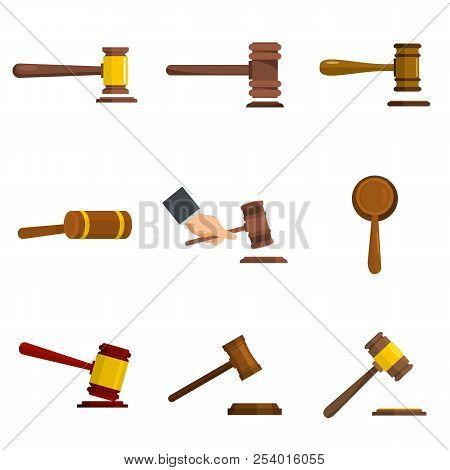 Judge Hammer Icons Set. Flat Illustration Of 9 Judge Hammer Icons Isolated On White