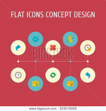 Set of project icons flat style symbols with undo, redo, add task and other icons for your web mobile app logo design. poster