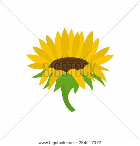 Blossoming Sunflower Icon. Flat Illustration Of Blossoming Sunflower Icon For Web