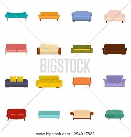 Sofa Chair Room Couch Icons Set. Flat Illustration Of 16 Sofa Chair Room Couch Icons Isolated On Whi