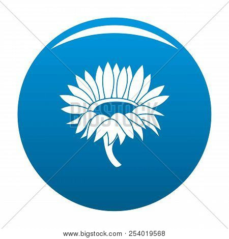 Blossoming Sunflower Icon. Simple Illustration Of Blossoming Sunflower Icon For Any Design Blue