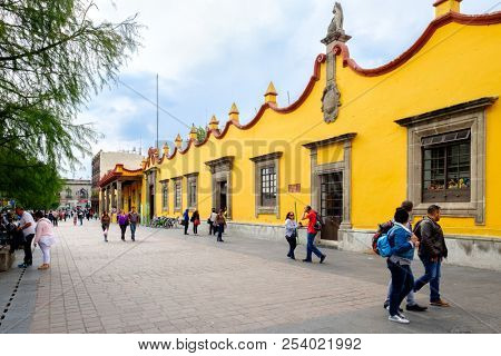 MEXICO CITY,MEXICO - JULY 13,2018 : The town hall at the historic neighborhood of Coyoacan in Mexico City