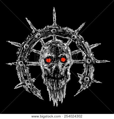 Scary Zombie Head In Semicircle With Spikes. Vector Illustration. Genre Of Horror. Terrible Characte
