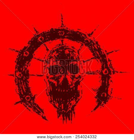 Scary Zombie Skull In Semicircle With Spikes. Vector Illustration. Genre Of Horror. Red Color Backgr