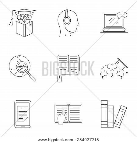 Familiarization Icons Set. Outline Set Of 9 Familiarization Vector Icons For Web Isolated On White B