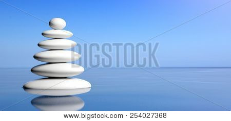 Spa concept. Zen stones stack on water, blue sky background. 3d illustration