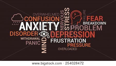 Anxiety, Panic And Depression Tag Cloud With Words, Concepts And Icons
