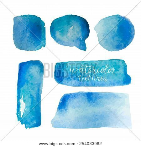Watercolor Backgrounds Set. Collection Of Blue Watercolor Textures With Brush Strokes. Watercolor St