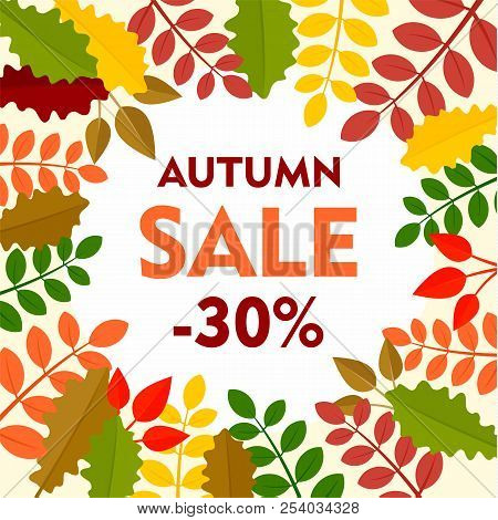 Leaves Final Autumn Sale Background. Flat Illustration Of Leaves Final Autumn Sale Vector Background