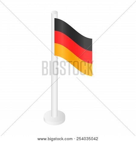 White Desktop German Flag Icon. Isometric Of White Desktop German Flag Vector Icon For Web Design Is
