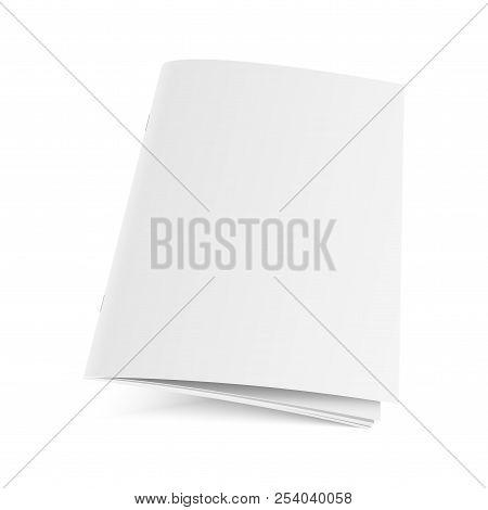 Mockup Opened Magazine, Journal, Booklet, Postcard, Flyer, Business Card Or Brochure . Vector.