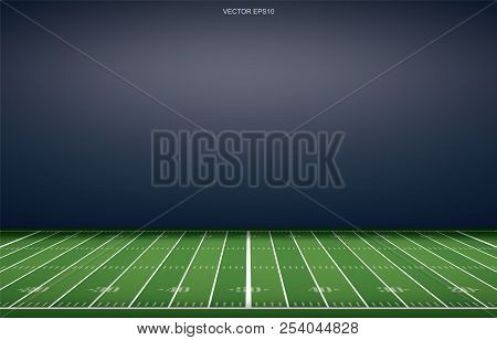 American Football Stadium Background With Perspective Line Pattern Of Grass Field. Vector Illustrati