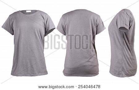 Women's Blank Grey T-shirt, Front, Back And Side Vie Template