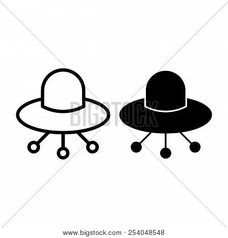 Ufo Line And Glyph Icon. Alien Spaceship Vector Illustration Isolated On White. Flying Ufo Saucer Ou