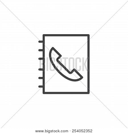 Telephone Book Outline Icon. Linear Style Sign For Mobile Concept And Web Design. Phonebook Simple L
