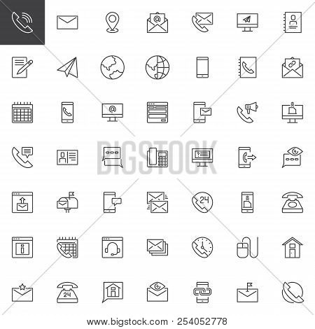 Contact Us Outline Icons Set. Linear Style Symbols Collection, Line Signs Pack. Vector Graphics. Set